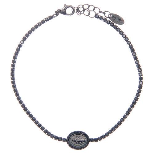 Bracelet Amen rivière Vierge Miraculeuse et zircons noirs 1