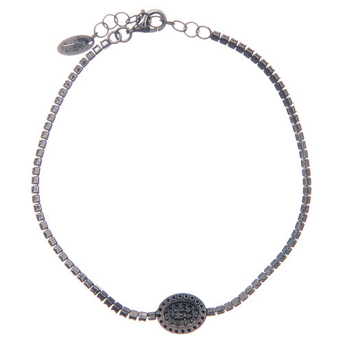 Amen tennis bracelet with black zircons and Miraculous medal 2