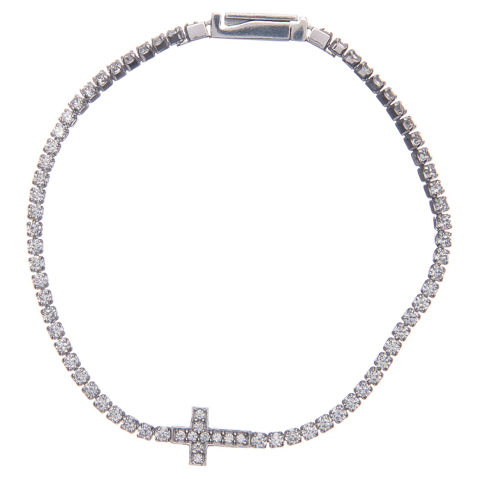 Bracciale Amen croce e zirconi bianchi argento 4