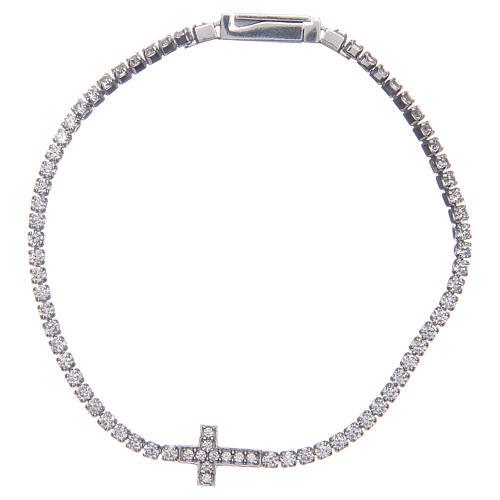 Bracciale Amen croce e zirconi bianchi argento 1