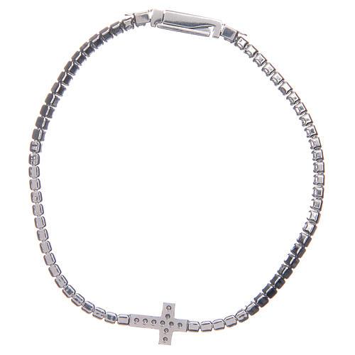Bracciale Amen croce e zirconi bianchi argento 2