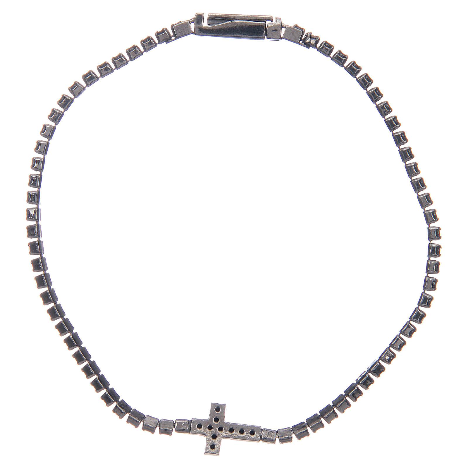 Bracciale Amen croce e zirconi nero argento 4