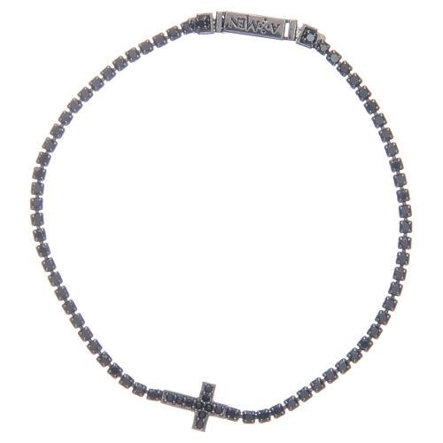 Bracciale Amen croce e zirconi nero argento 1