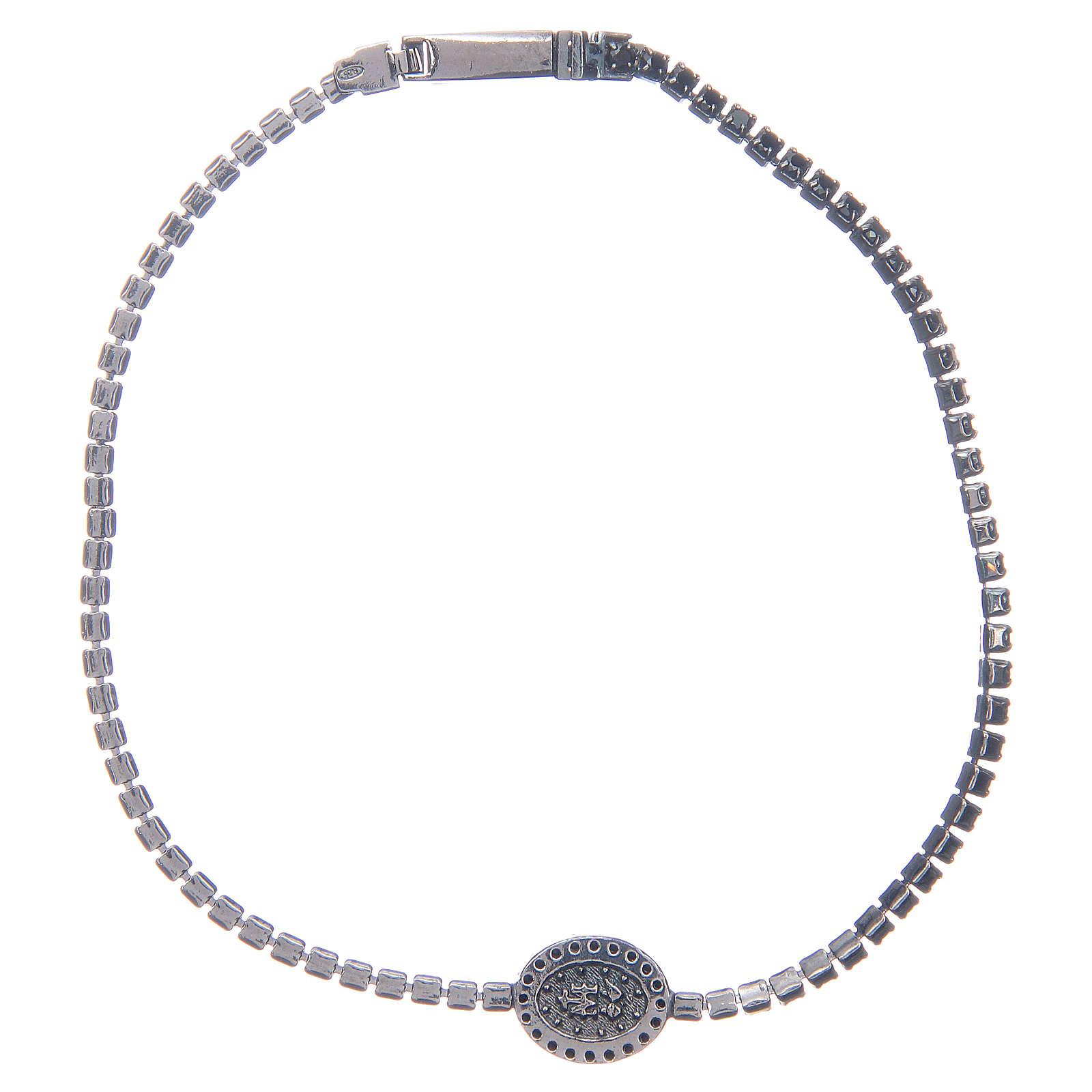 Bracelet Amen rivière médaille Miraculeuse zircons noirs 4