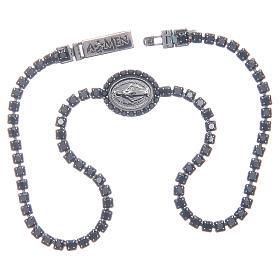 Bracelet Amen rivière médaille Miraculeuse zircons noirs s3