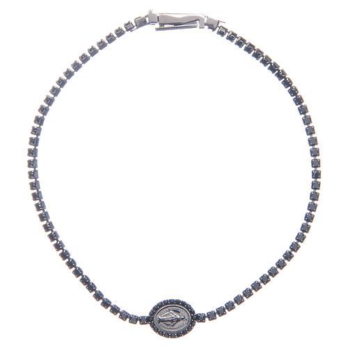 Bracelet Amen rivière médaille Miraculeuse zircons noirs 1