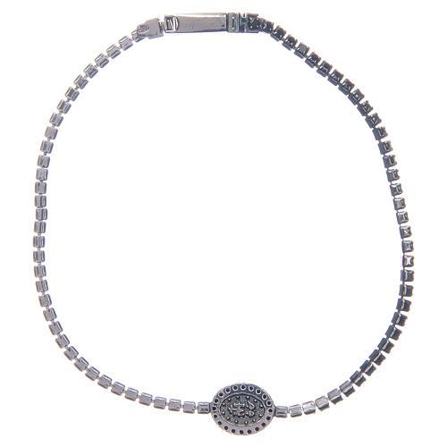 Bracelet Amen rivière médaille Miraculeuse zircons noirs 2