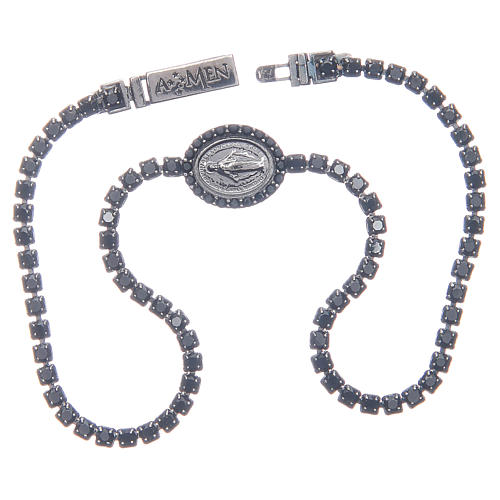 Bracelet Amen rivière médaille Miraculeuse zircons noirs 3