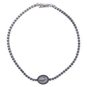 AMEN bracelets: Miraculous medal tennis bracelet with black zircons, Amen