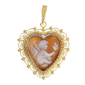 Silver feligree Cameo pendant with angel s1