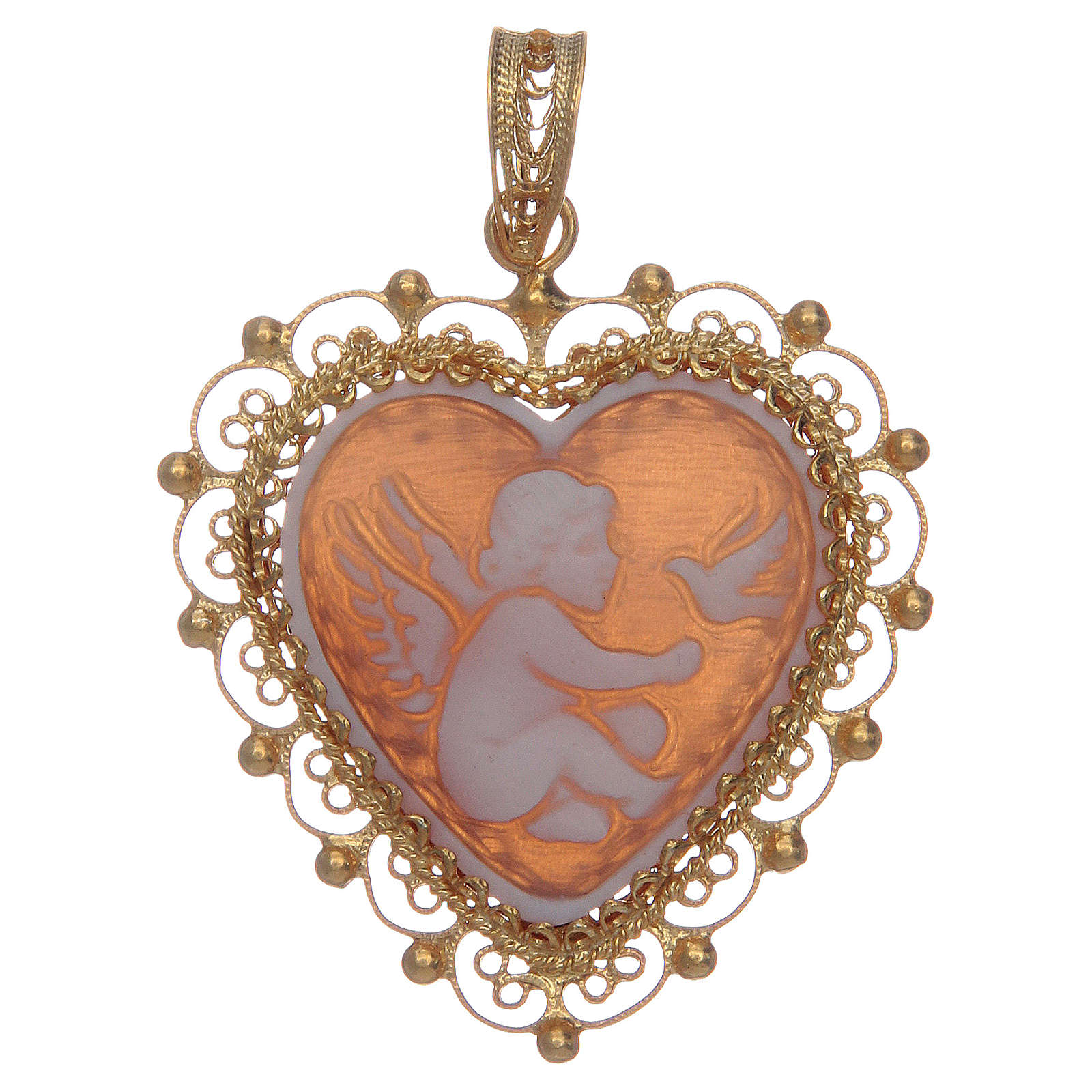 Ciondolo filigrana argento 800 angelo con cammeo 4