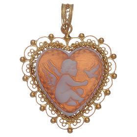 Ciondolo filigrana argento 800 angelo con cammeo s1