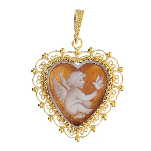 Silver feligree Cameo pendant with angel 1