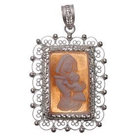 Pendentif filigrane argent 925 Vierge à l'Enfant avec camée s1