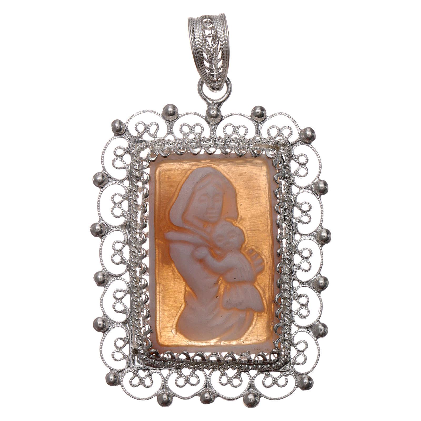 Ciondolo filigrana argento 800 Madonna bambino con cammeo 4