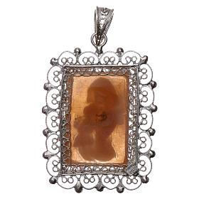 Ciondolo filigrana argento 800 Madonna bambino con cammeo s2