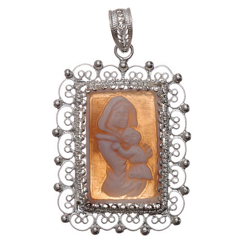 Ciondolo filigrana argento 800 Madonna bambino con cammeo 1