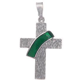 Pingentes, Cruzes, Broches, Correntes: Cruz diaconal prata 925 esmalte verde