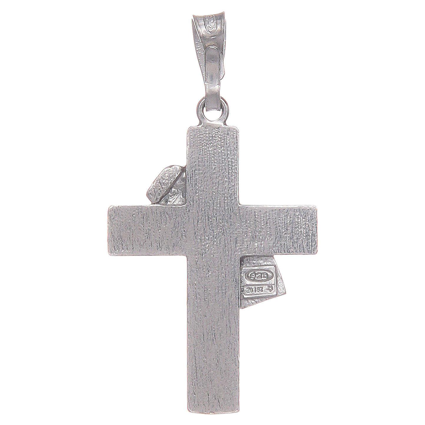 Croce diaconale argento 925 smalto bianco 4