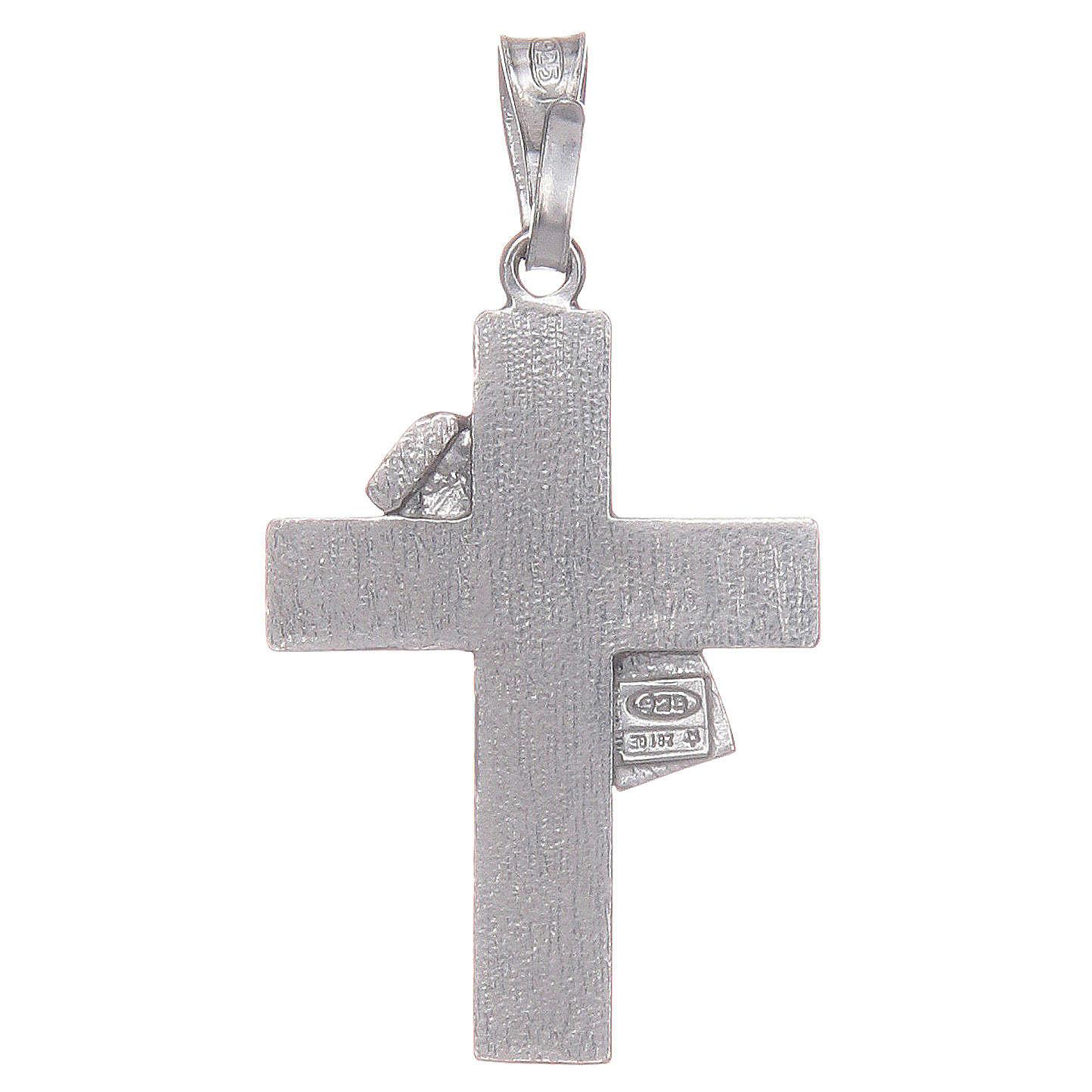 Croce diaconale argento 925 smalto rosso 4
