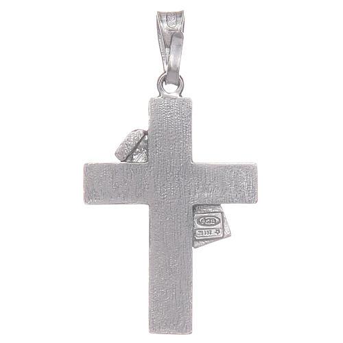 Croce diaconale argento 925 smalto rosso 2