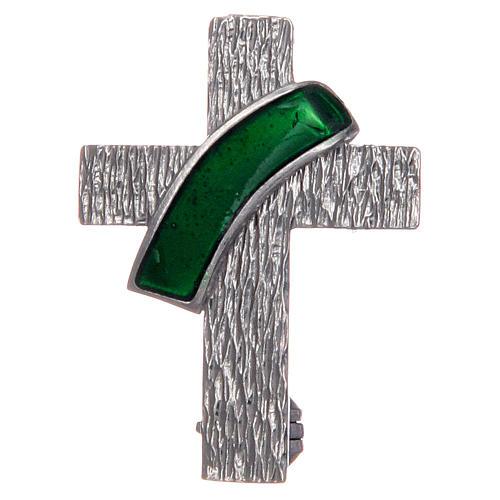 Broche pour veste croix diaconale argent 925 émail vert 1