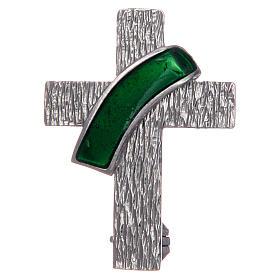 Broche cruz diaconal prata 925 esmalte verde s1