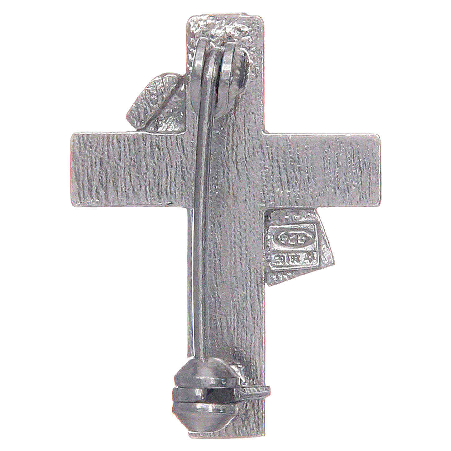 Deacon cross lapel pin in 925 silver and green enamel 4