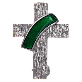 Deacon cross lapel pin in 925 silver and green enamel s1