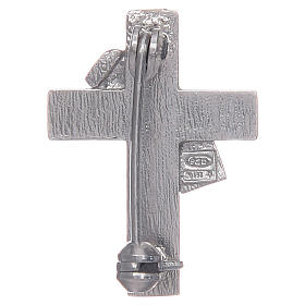 Deacon cross lapel pin in 925 silver and green enamel s2