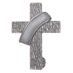 Pendants, crosses and pins: Deacon cross lapel pin in 925 silver and white enamel
