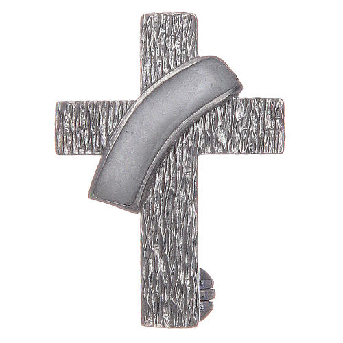 Broche cruz diaconal plata 925 esmalte blanco 1