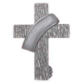 Broche cruz diaconal prata 925 esmalte branco s1