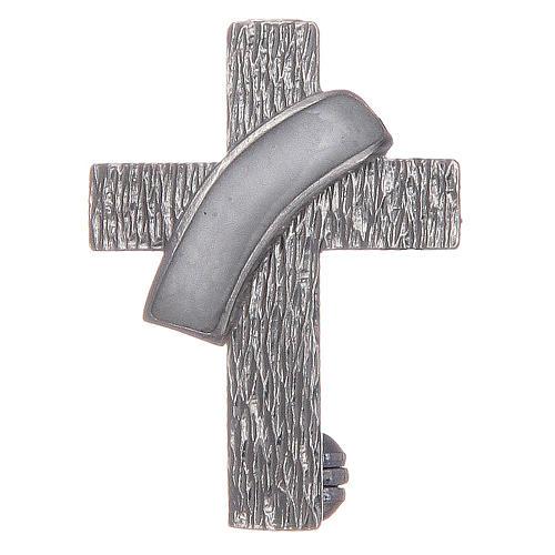 Broche cruz diaconal prata 925 esmalte branco 1