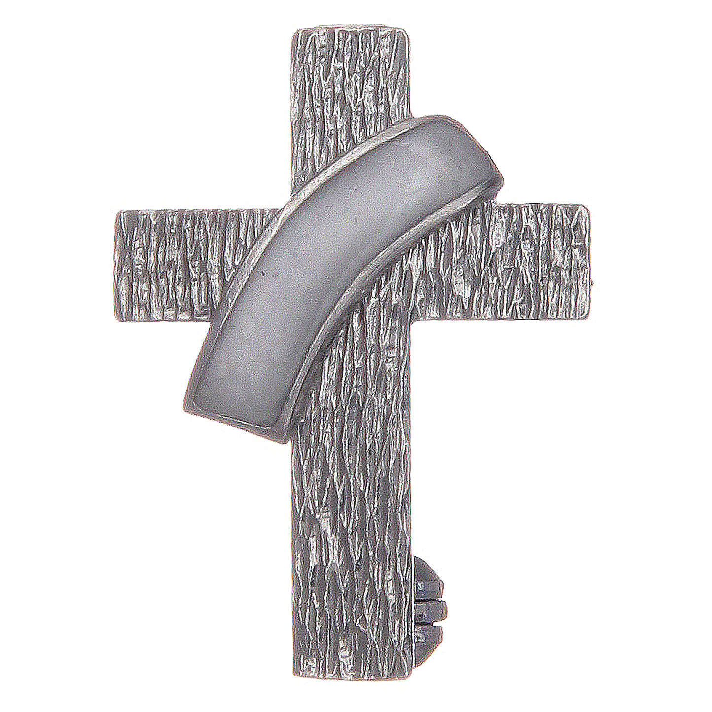 Deacon cross lapel pin in 925 silver and white enamel 4