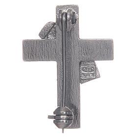 Deacon cross lapel pin in 925 silver and red enamel s2