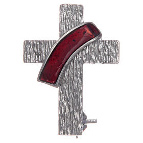 Deacon cross lapel pin in 925 silver and red enamel s1