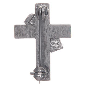 Deacon cross lapel pin in 925 silver and red enamel s2