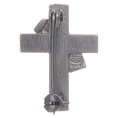 Deacon cross lapel pin in 925 silver and purple enamel 2