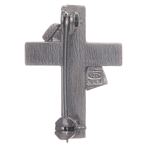 Broche pour veste croix diaconale argent 925 émail violet 2