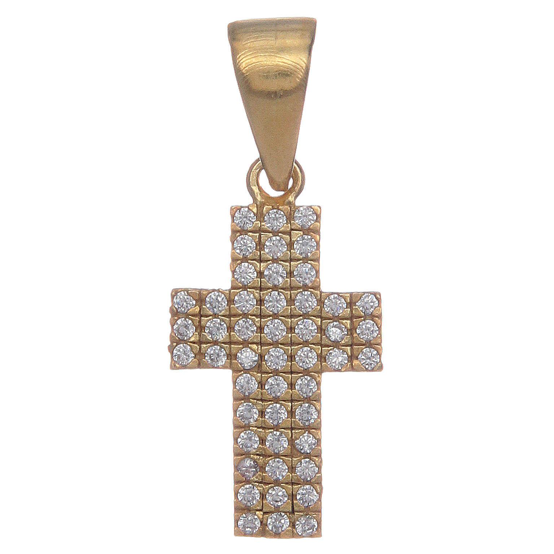 Croce argento 925 dorato con zirconi 4