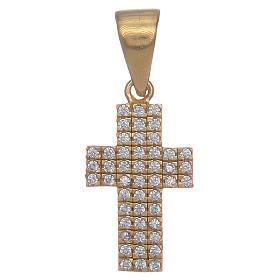 Croce argento 925 dorato con zirconi s1