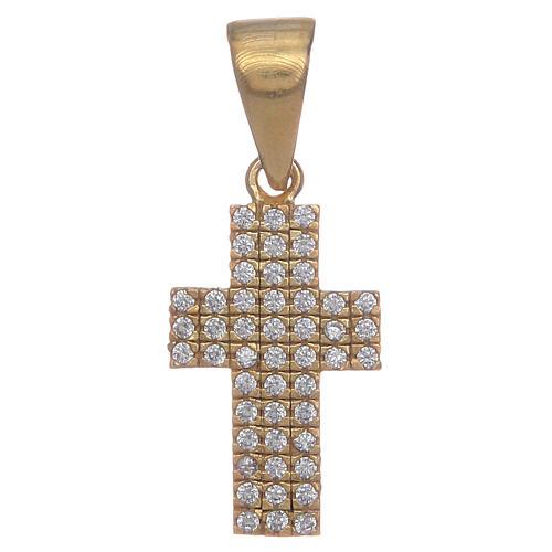 Croce argento 925 dorato con zirconi 1