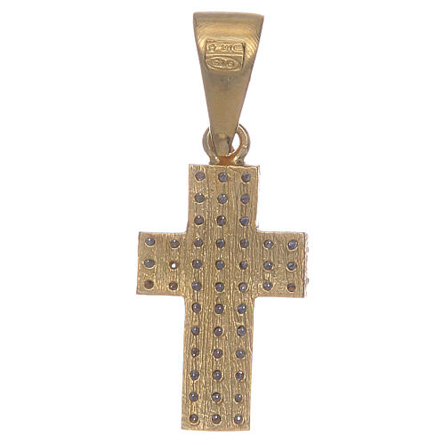 Croce argento 925 dorato con zirconi 2