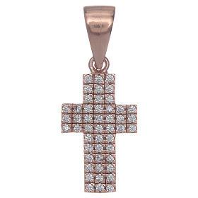 Croix argent 925 rosé avec zircons s1