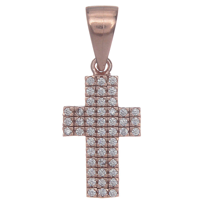Croce argento 925 rosè con zirconi 4