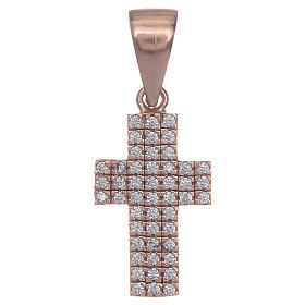 Croce argento 925 rosè con zirconi s1