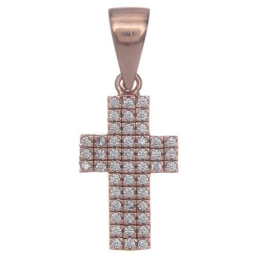 Croce argento 925 rosè con zirconi 1
