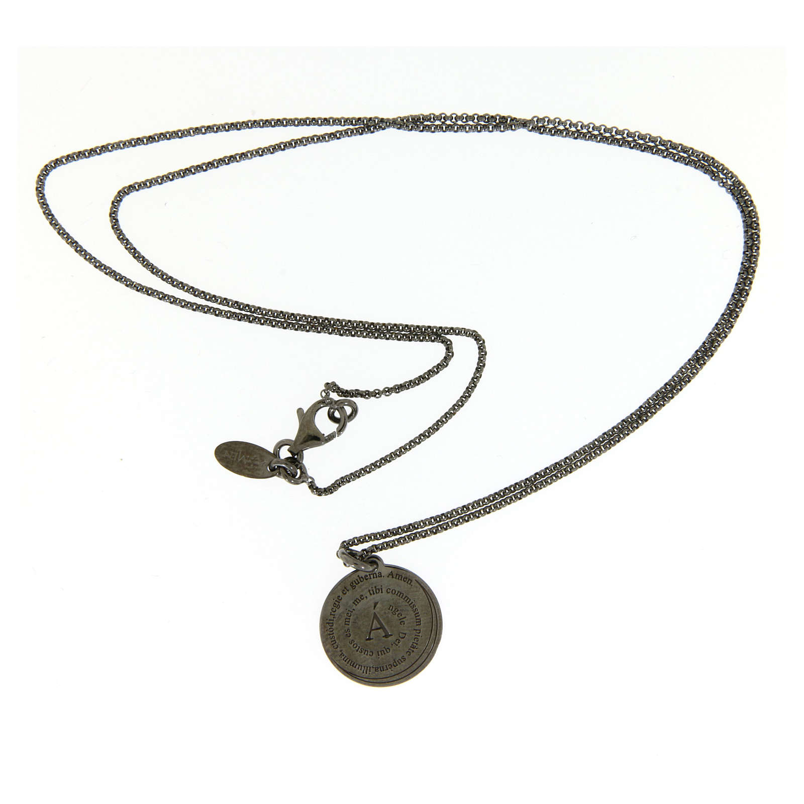 Amen necklace for men in silver finished in burnish Angel of God in latin 4