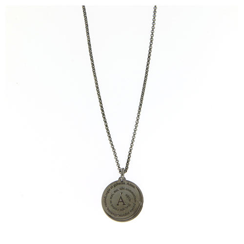 Amen necklace for men in silver finished in burnish Angel of God in latin 1